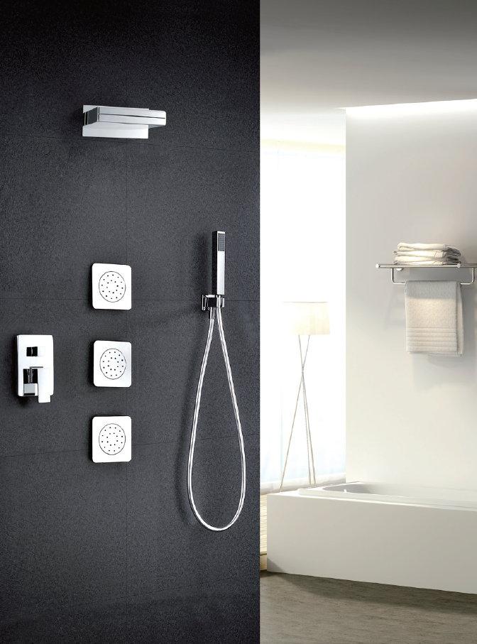 Grifer a empotrada de ducha imex formentera cascada monomando for Grifo cocina pared 15cm