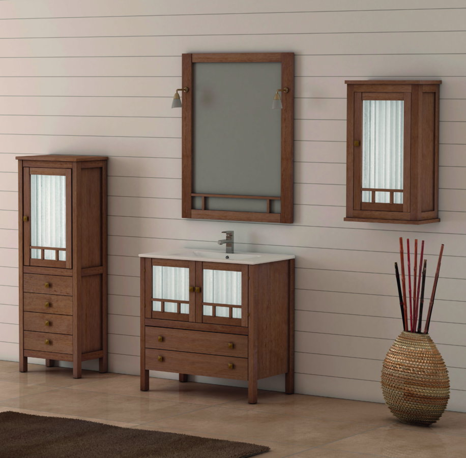 Mueble de ba o de madera batoni modelo merida 100 cm for Mueble bano de madera
