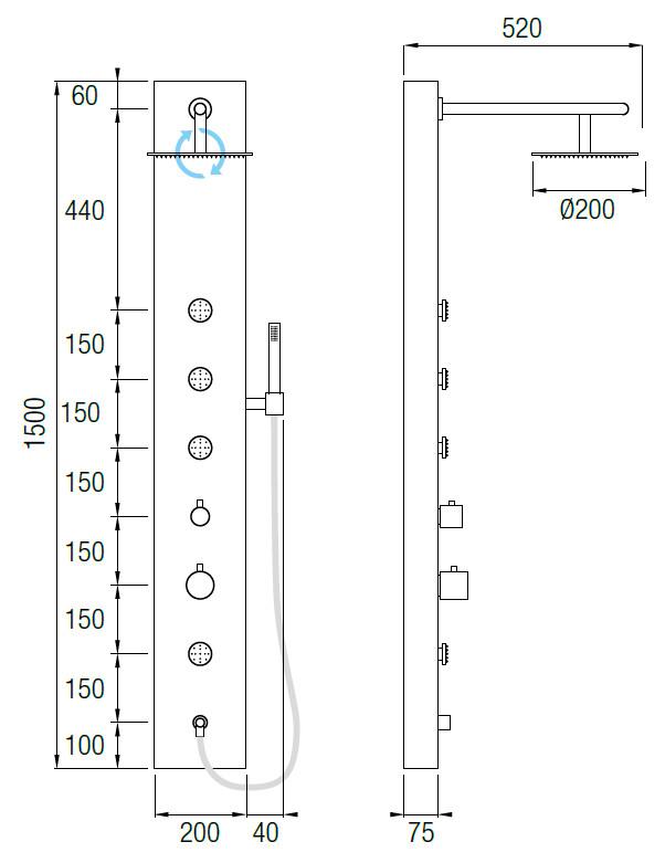 Columna de ducha hidromasaje aquassent torrente termost tica for Columna termostatica