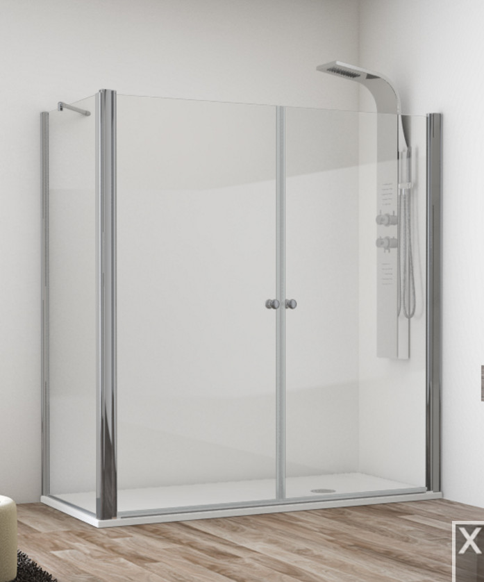 Mamparas ducha hidroglass ebano de 2 hojas abatibles con - Mamparas abatibles para ducha ...