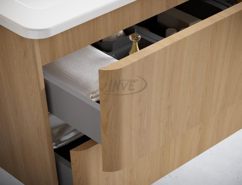INVE Mueble de Baño Modelo CORVO con patas Roble