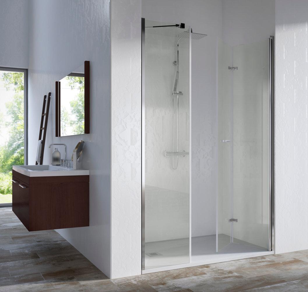 Mampara de ducha v b sintesis de 1 fijo y 2 hojas plegables - Mamparas de ducha plegables ...