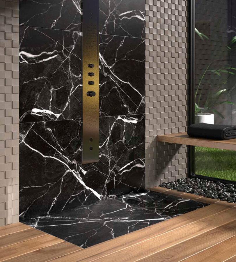 Plato ducha duplach stone 3d marmol blanco for Marmol para ducha