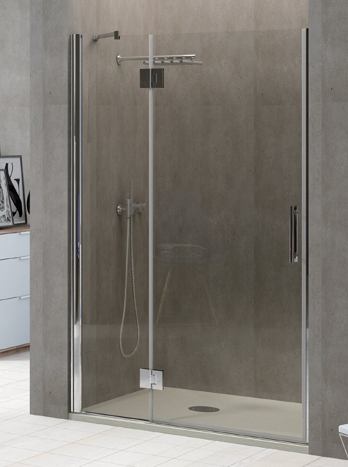Mamparas de ducha puertas abatibles frontal de ducha con - Mampara plegable ducha ...