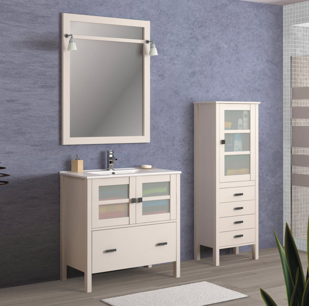 Batoni mueble de ba o de madera modelo caceres for Mueble bano rustico blanco