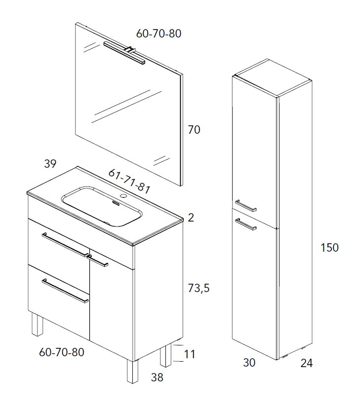 Mueble de ba o royo modelo confort 70cm con patas fondo - Confort del bano ...
