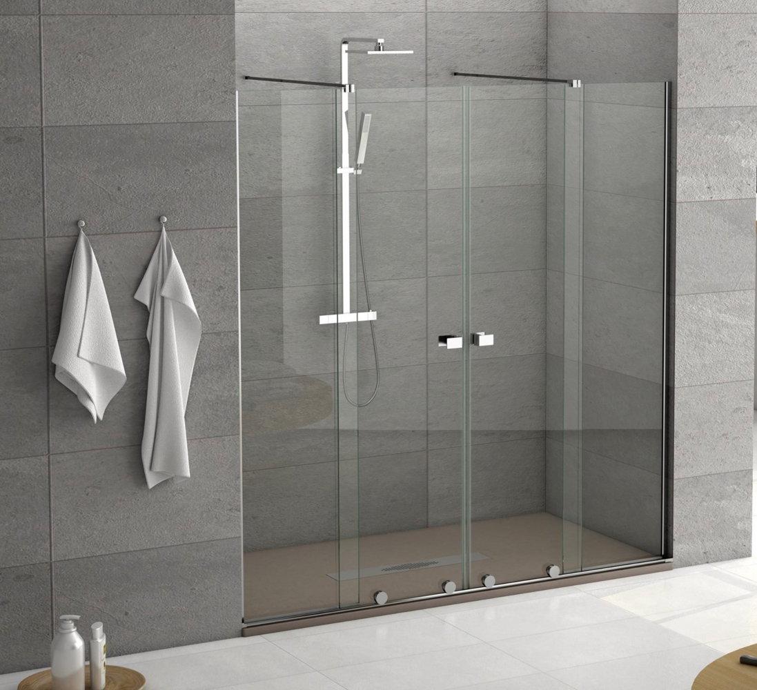 Mampara de ducha becrisa modelo manhattan de 2 fijos y 2 correderas - Mampara para ducha ...
