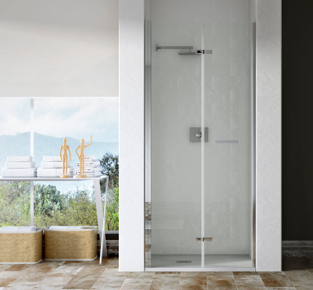 Mampara de ducha sp sg de 2 hojas plegables for Hojas plegables