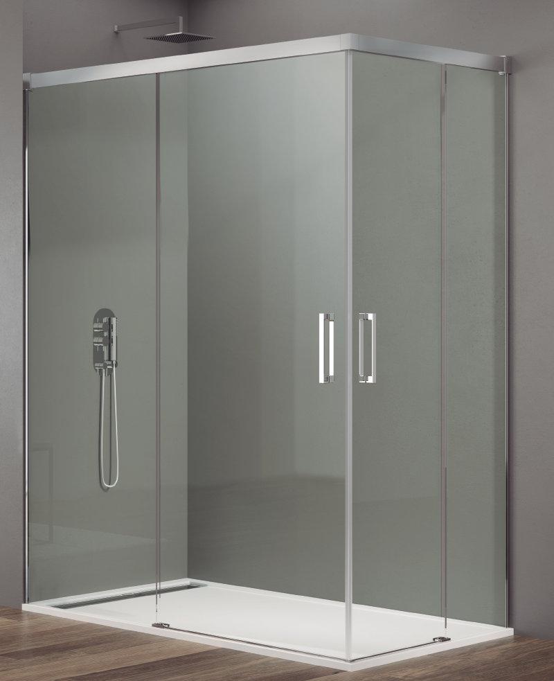 Mamparas ducha gme basic 2 fijos y 2 correderas abierta al - Instalar mampara ducha ...