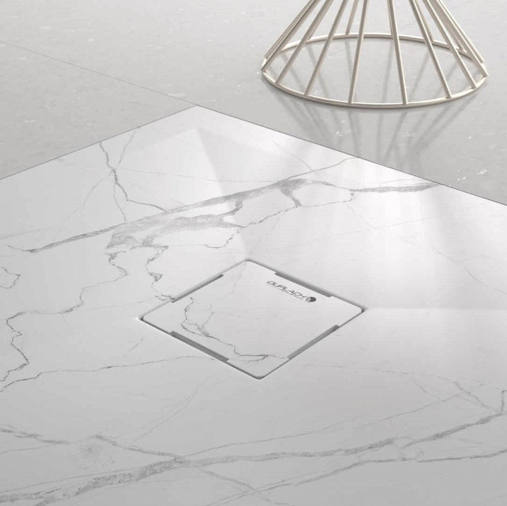 Plato ducha duplach stone 3d marmol blanco for Marmol color blanco