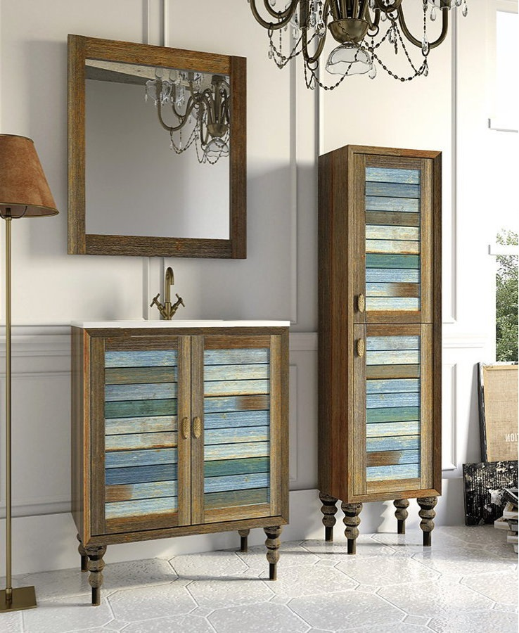 Mueble de ba o de madera stylo modelo vintage con patas 60 cm - Mueble bano vintage ...