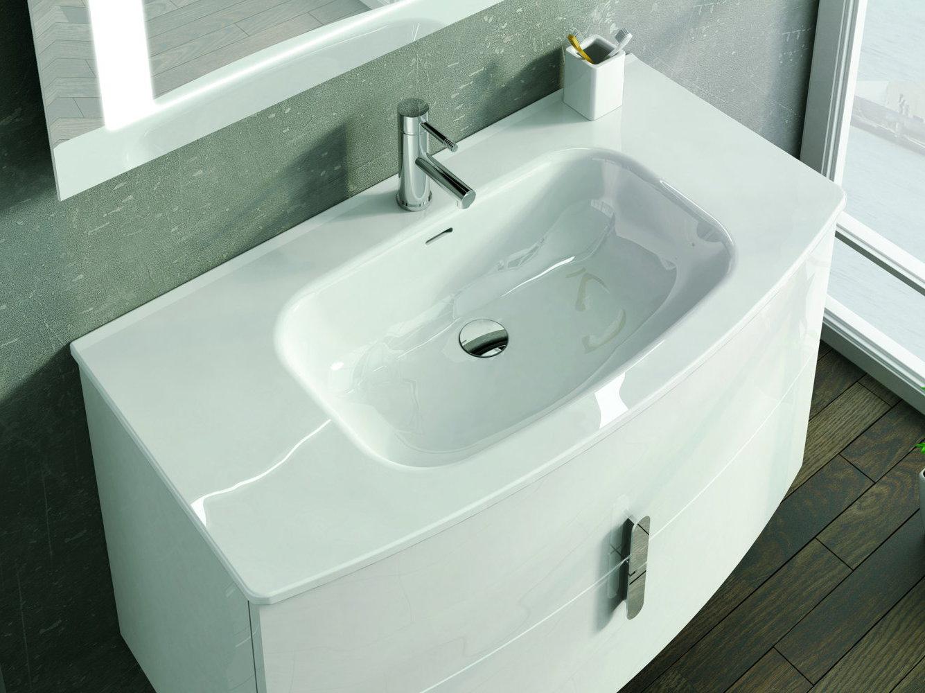Mueble de ba o royo modelo round suspendido de 80cm for Mueble alto para bano