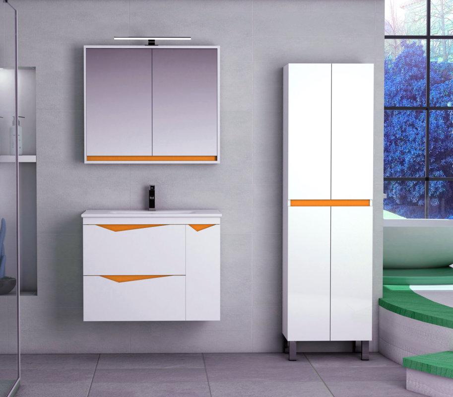 Muebles De Bano Naranja.Mueble De Bano Batoni Modelo Mistral Suspendido De 70 Cm