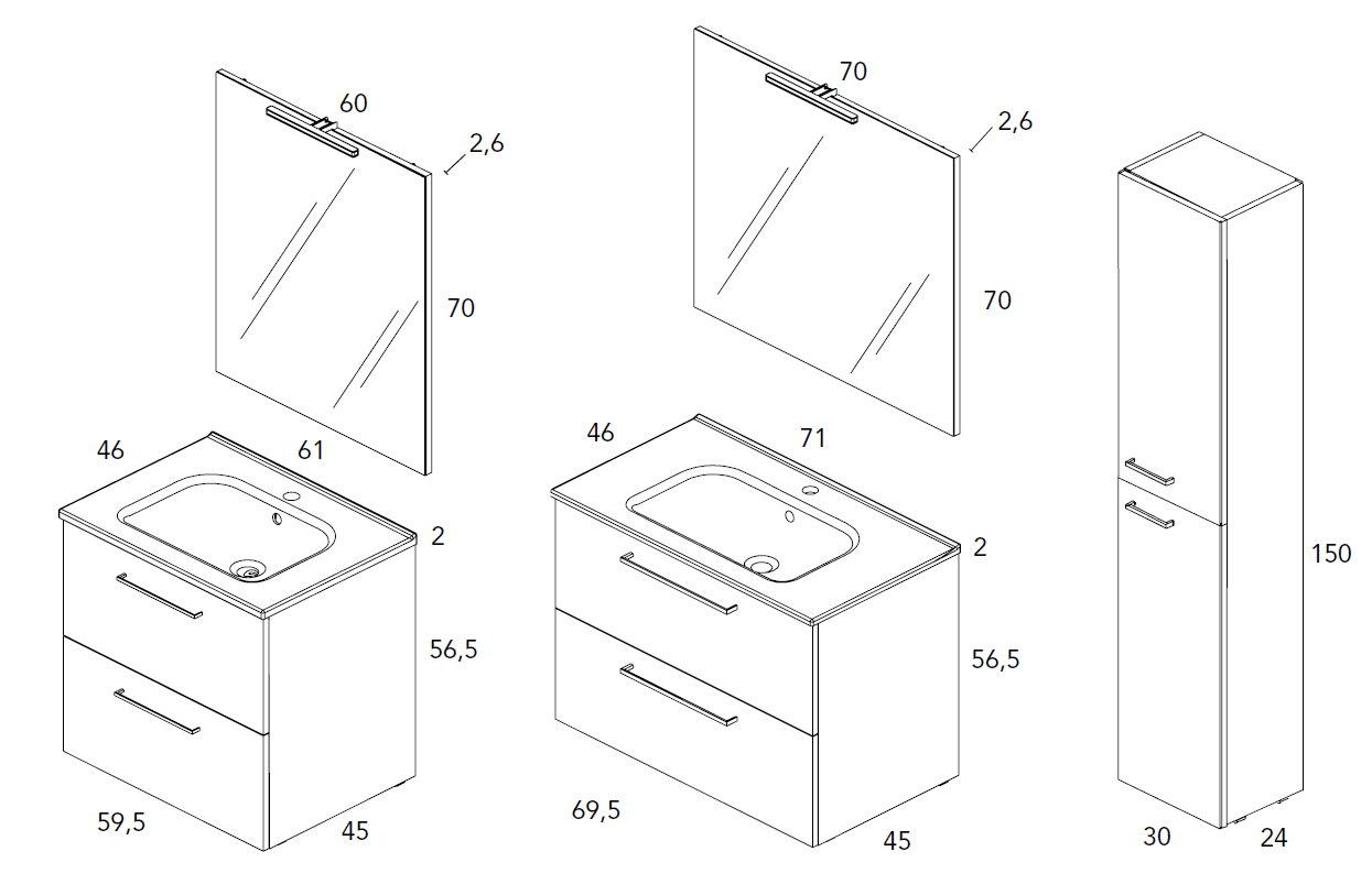Mueble de ba o royo modelo easy suspendido de 70cm fondo for Muebles de bano 60 x 45