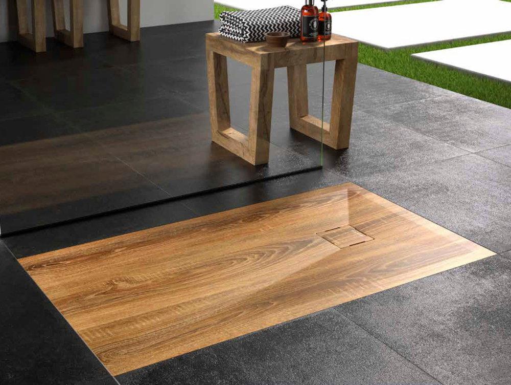 Plato ducha duplach stone 3d madera de nogal for Ducha madera