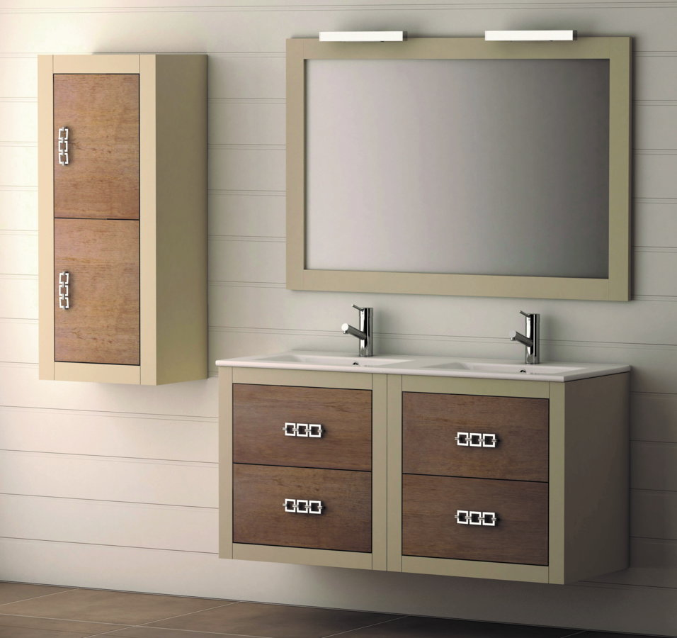 Mueble de ba o de madera batoni modelo palermo suspendido - Mueble de bano madera ...