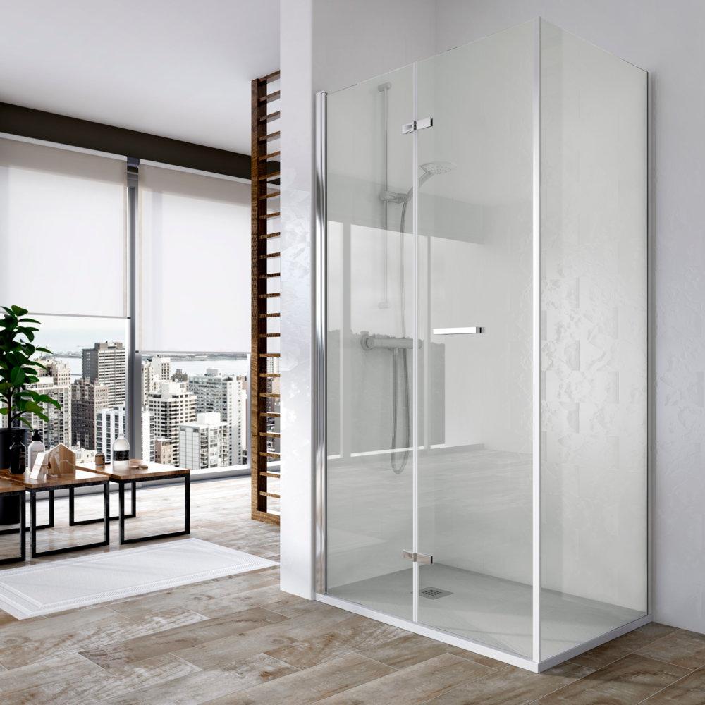 Mampara de ducha v b sintesis de 2 hojas plegables con - Mamparas de ducha plegables ...