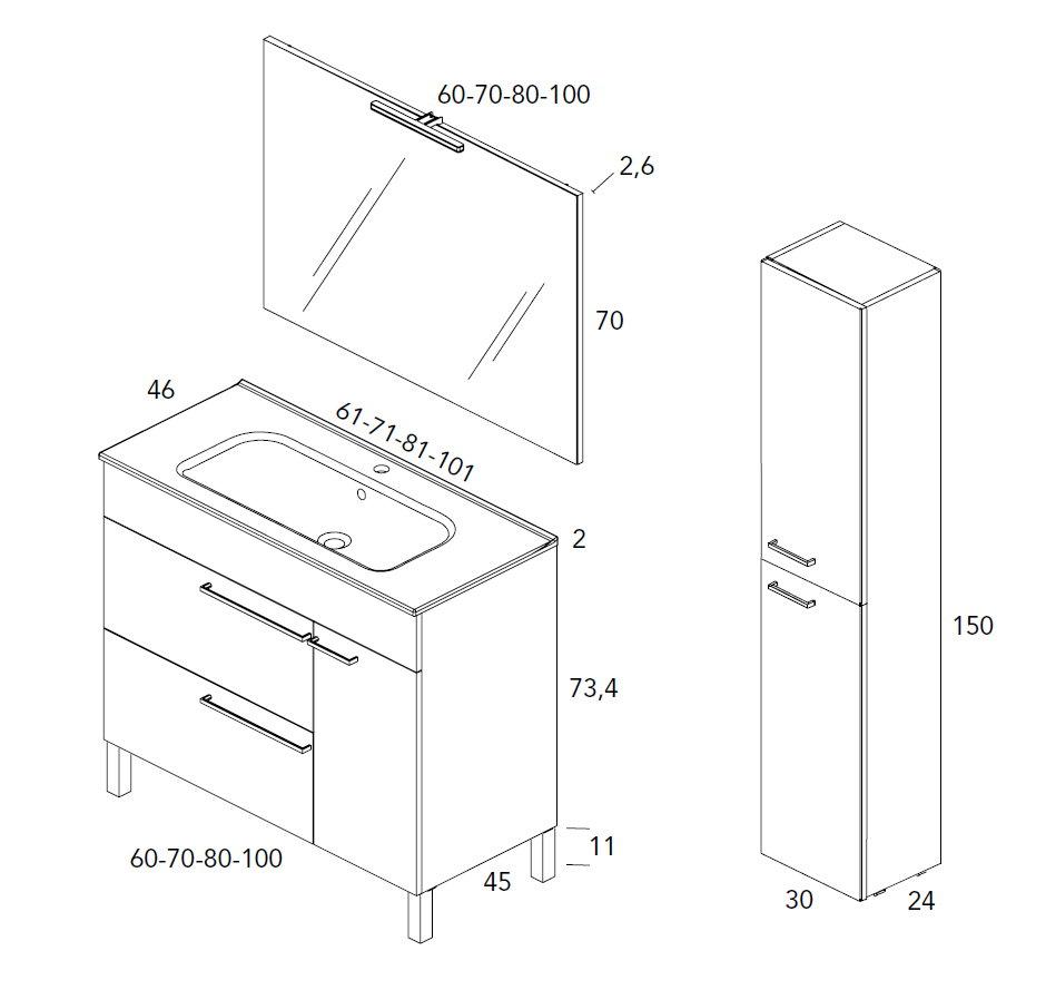 Mueble de ba o royo modelo confort con patas fondo 45cm for Mueble 25 cm ancho