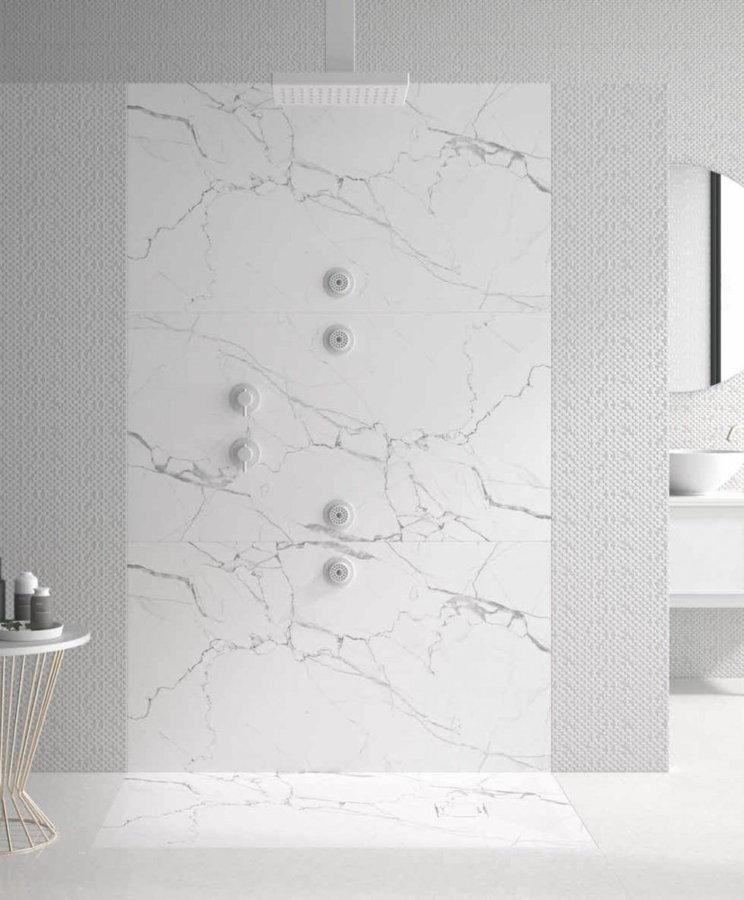 Plato ducha duplach stone 3d marmol blanco for Marmol negro y blanco